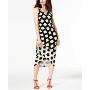 INC Black & White Spotted Maxi Dress